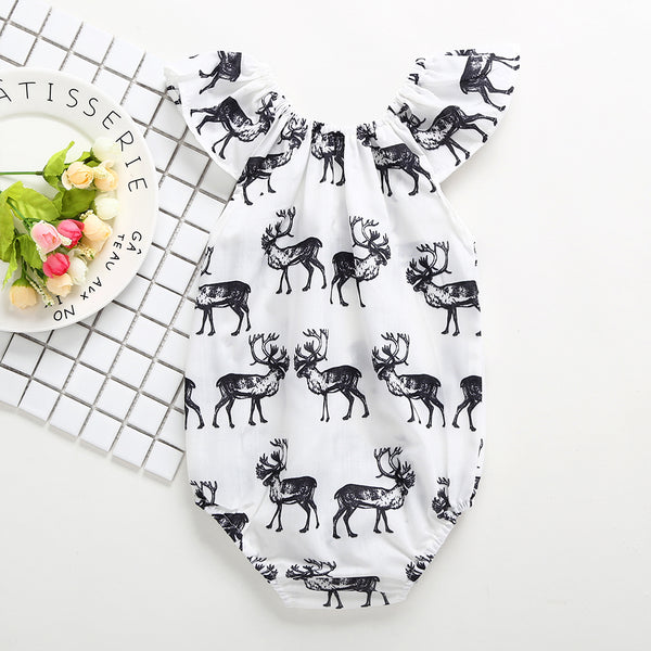 50PCS No Profit On Sale Clearance & Closeout Specials Baby Girls Elk Printed Sleeveless Romper baby wholesale