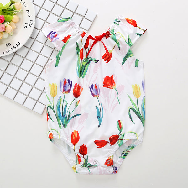 50PCS No Profit On Sale Clearance & Closeout Specials Baby Girls Floral Printed Sleeveless Romper baby clothes wholesale usa