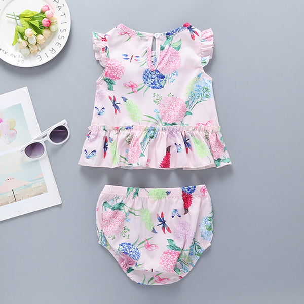 50PCS No Profit On Sale Clearance & Closeout Specials Baby Girls Fly Sleeve Floral Printed Top & Shorts baby clothes wholesale usa