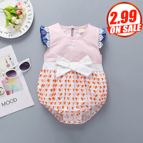 50PCS No Profit On Sale Clearance & Closeout Specials Baby Girls Heart Printed Sleeveless Striped Bow Romper