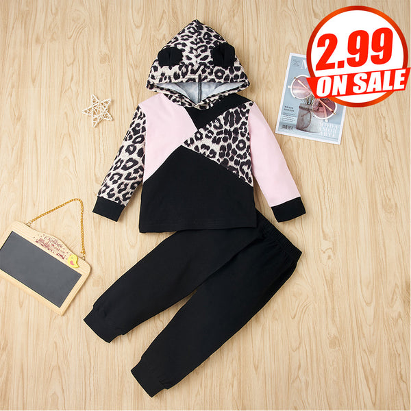 50PCS No Profit On Sale Clearance & Closeout Specials Baby Girls Leopard Long Sleeve Hooded Top & Pants baby clothes wholesale