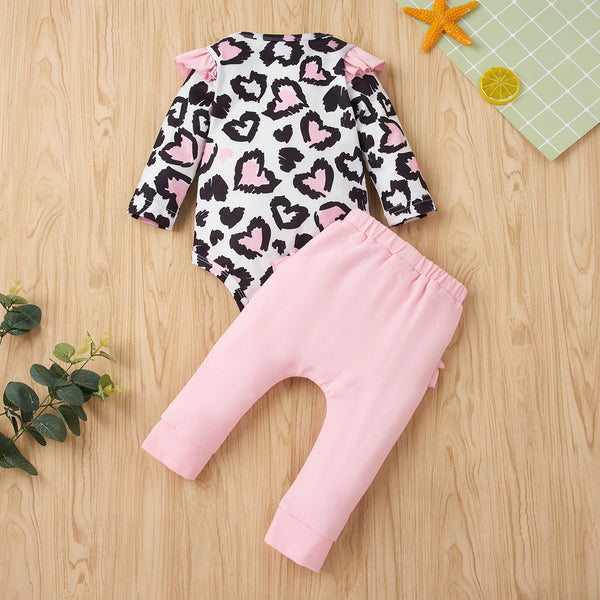 50PCS No Profit On Sale Clearance & Closeout Specials Baby Girls Long Sleeve Heart Romper & Pants baby clothes wholesale distributors
