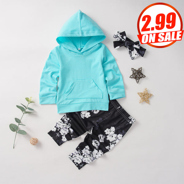 50PCS No Profit On Sale Clearance & Closeout Specials Baby Girls Long Sleeve Hooded Top & Pants & Headband baby clothes wholesale