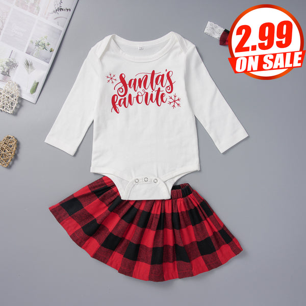 50PCS No Profit On Sale Clearance & Closeout Specials Baby Girls Long Sleeve Letter Romper & Plaid Skirt & Headband baby wholesale clothing