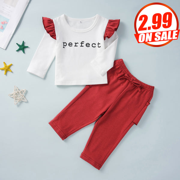 50PCS No Profit On Sale Clearance & Closeout Specials Baby Girls Long Sleeve Ruffled Letter Top & Pants Wholesale Baby Clothes