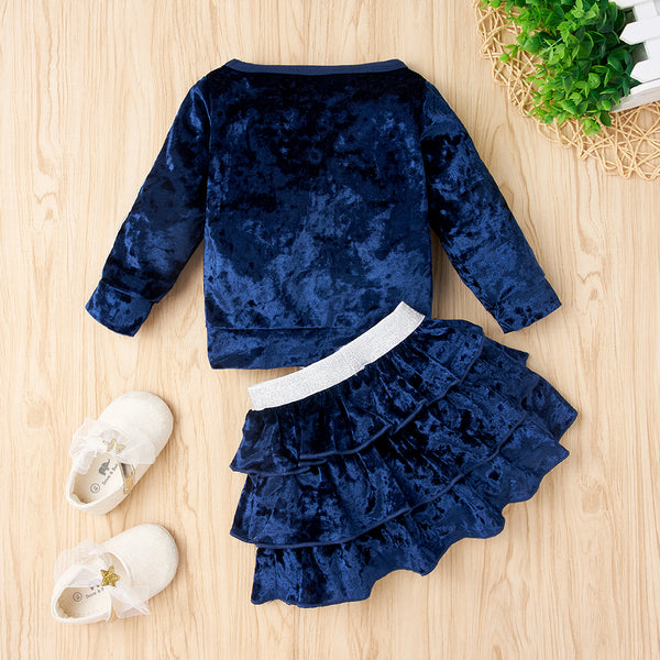 50PCS No Profit On Sale Clearance & Closeout Specials Baby Girls Long Sleeve Solid Soft Top & Skirt Wholesale Baby Clothes