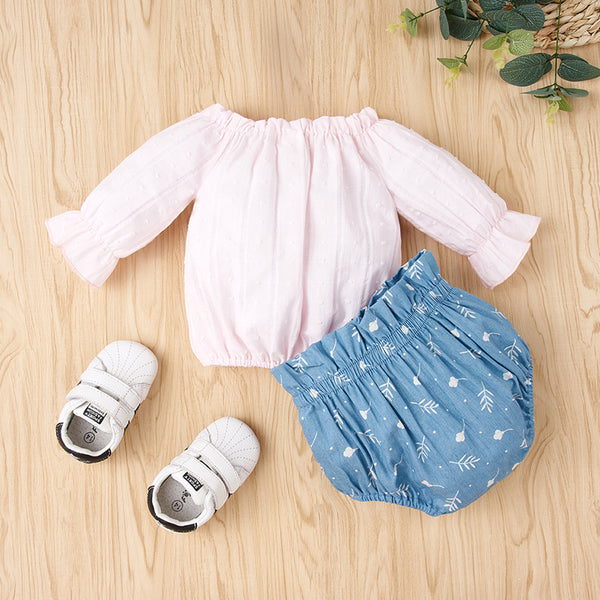 50PCS No Profit On Sale Clearance & Closeout Specials Baby Girls Long Sleeve Top & Shorts wholesale baby clothes usa