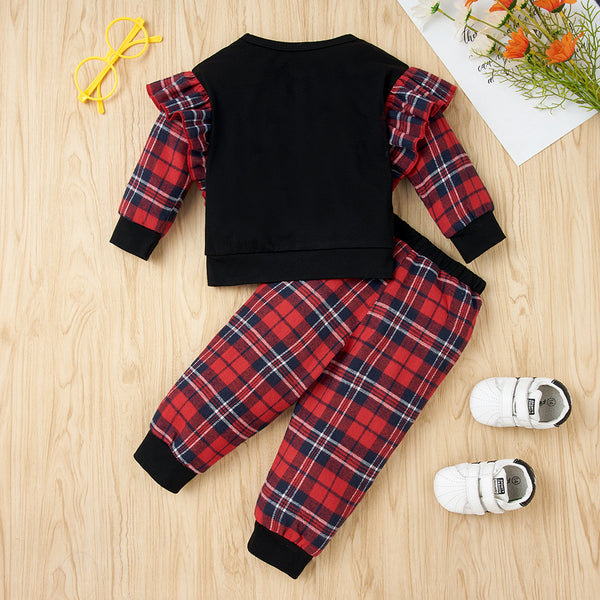 50PCS No Profit On Sale Clearance & Closeout Specials Baby Girls Plaid Long Sleeve Top & Pants Wholesale Baby Clothes