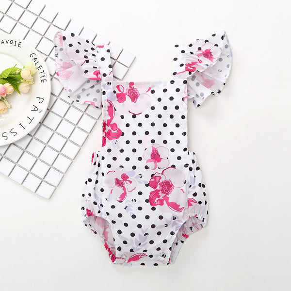 50PCS No Profit On Sale Clearance & Closeout Specials Baby Girls Polka Dot Floral Printed Flying Sleeve Romper baby wholesale
