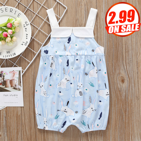 50PCS No Profit On Sale Clearance & Closeout Specials Baby Girls Rabbit Printed Suspender Romper baby clothes wholesale usa