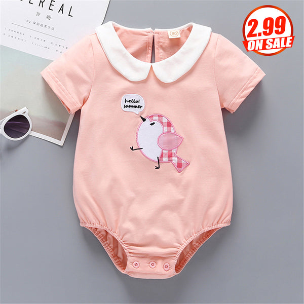 50PCS No Profit On Sale Clearance & Closeout Specials Baby Girls Short Sleeve Bird Embroidery Romper wholesale infant clothing