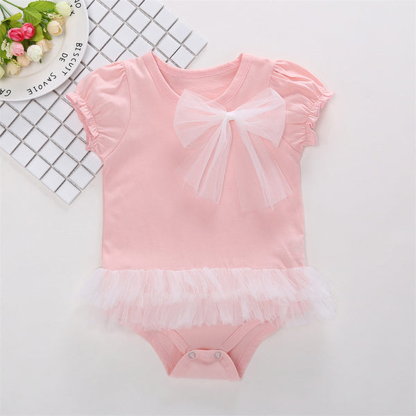 50PCS No Profit On Sale Clearance & Closeout Specials Baby Girls Short Sleeve Bow Decor Romper baby clothes vendors