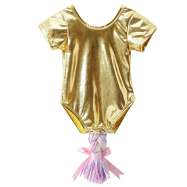 50PCS No Profit On Sale Clearance & Closeout Specials Baby Girls Short Sleeve Ponytail Romper wholesale baby clothes