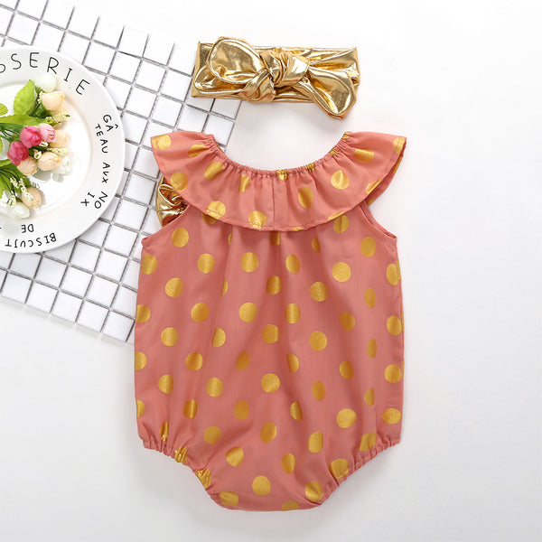 50PCS No Profit On Sale Clearance & Closeout Specials Baby Girls Sleeveless Polka Dot Romper wholesale infant clothing