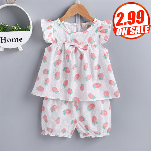 50PCS No Profit On Sale Clearance & Closeout Specials Baby Girls Strawberry Printed Sleeveless Top & Shorts baby clothes wholesale distributors