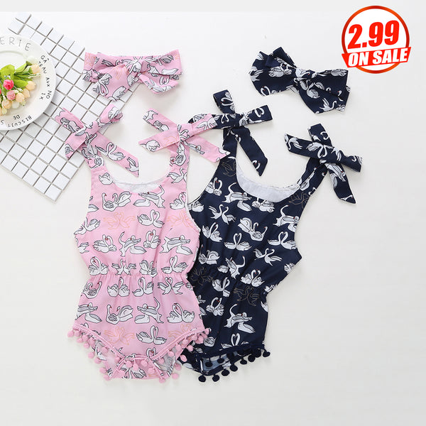 50PCS No Profit On Sale Clearance & Closeout Specials Baby Girls Swan Printed Romper & Headband baby wholesale