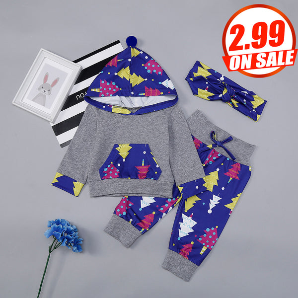 50PCS No Profit On Sale Clearance & Closeout Specials Baby Girls Tree Hooded Long Sleeve Top & Pants & Headband Wholesale Baby Clothes