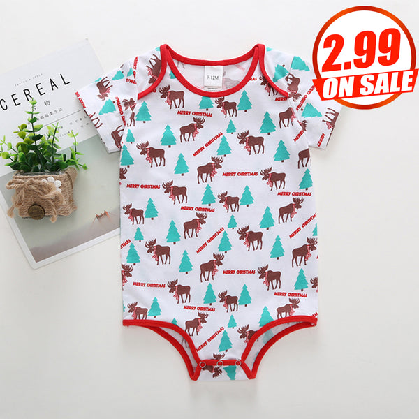 50PCS No Profit On Sale Clearance & Closeout Specials Baby Unisex Elk Tree Printed Short Sleeve Romper baby clothes wholesale usa