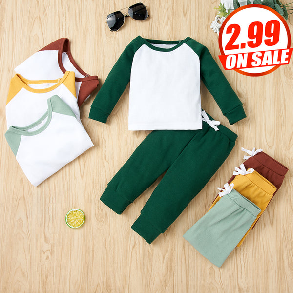50PCS No Profit On Sale Clearance & Closeout Specials Baby Unisex Long Sleeve Color Contrast Top & Pants Wholesale Baby Clothes