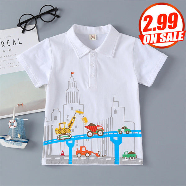 50PCS No Profit On Sale Clearance & Closeout Specials Boys Lapel Short Sleeve Cartoon Printed Top wholesale boy boutique clothes