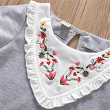50PCS No Profit On Sale Clearance & Closeout Specials Girls Floral Embroidery Ruffled Short Sleeve T-Shirts children's wholesale boutique clothing