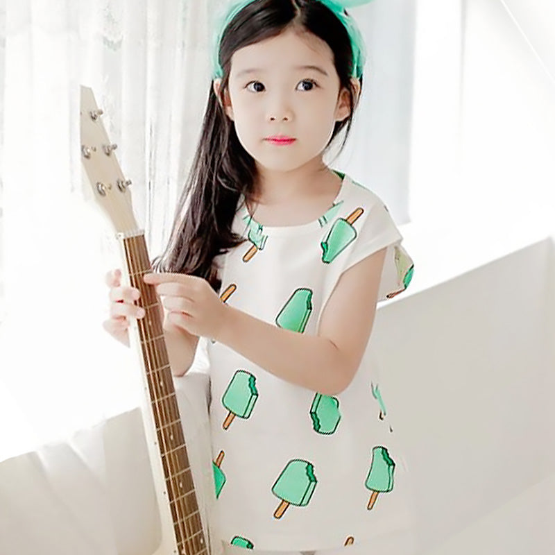 50PCS No Profit On Sale Clearance & Closeout Specials Girls Ice Cream Printed Sleeveless Top wholesale childrens clothing online