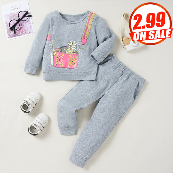 50PCS No Profit On Sale Clearance & Closeout Specials Girls Long-sleeve Cartoon Printed Top & Pants wholesale kids boutique clothing