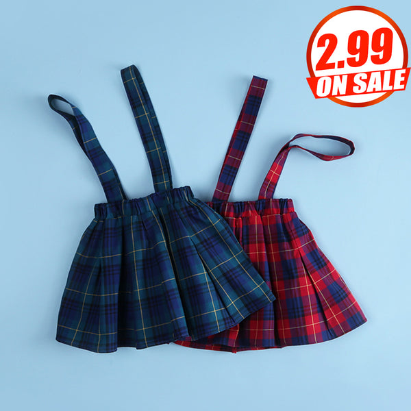 50PCS No Profit On Sale Clearance & Closeout Specials Girls Preppy Style Plaid Back Belt Skirt