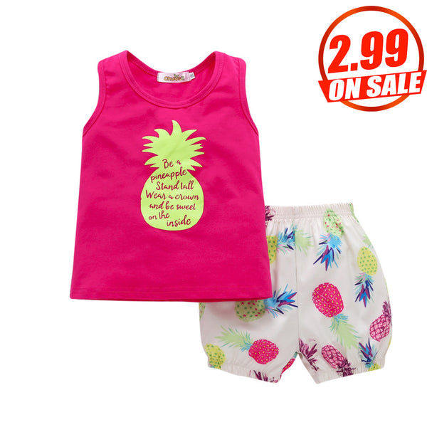 50PCS No Profit On Sale Clearance & Closeout Specials Girls Sleeveless Cartoon Letter Printed Top & Shorts wholesale baby clothing