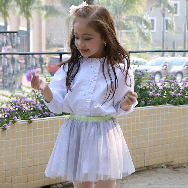 50PCS No Profit On Sale Clearance & Closeout Specials Girls Solid Color Long Sleeve Blouses wholesale childrens clothing distributors