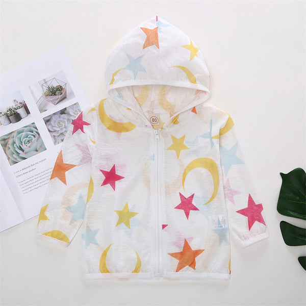 50PCS No Profit On Sale Clearance & Closeout Specials Girls Star Printed Hooded Long Sleeve Sun pProtection Jacket kids wholesale