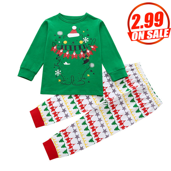 50PCS No Profit On Sale Clearance & Closeout Specials Unisex Christmas Bear Printed Long Sleeve Top & Pants Children Apparel Wholesale Kids Clothing Wholesale