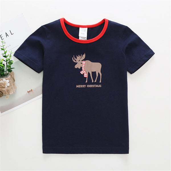 50PCS No Profit On Sale Clearance & Closeout Specials Unisex Christmas Elk Printed Short Sleeve Top & Pants wholesale kids clothing suppliers