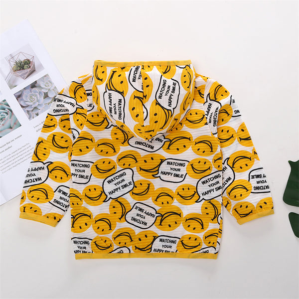50PCS No Profit On Sale Clearance & Closeout Specials Unisex Smiley Hooded Sun-proof Jackets kids wholesale clothing