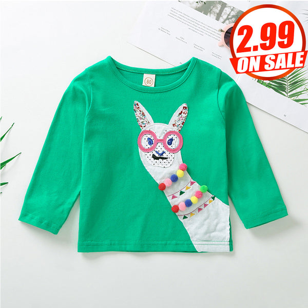 50PCS No Profit On Sale Girls Long Sleeve Cartoon T-Shirts wholesale kids clothing