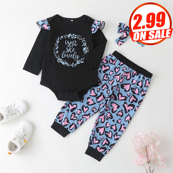 51PCS No Profit On Sale Clearance & Closeout Specials Baby Girls Leopard Letter Long Sleeve Romper & Pants & Headband Wholesale Baby Clothes