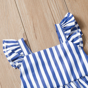 Toddler Girls Sleeveless Princess Skirt Stripe Printed Suspender Dress