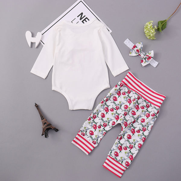 58PCS No Profit On Sale Clearance & Closeout Specials Baby Girls Long Sleeve Floral Long Sleeve Letter Romper & Pants & Headband Wholesale Baby Clothes