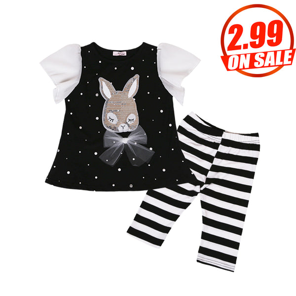 59PCS No Profit On Sale Clearance & Closeout Specials Girls Mesh Sleeve Rabbit Striped Summer Suit wholesale children's boutique clothing suppliers usa
