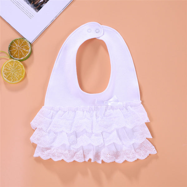 5PCS Baby Girls Solid Color Ruffled Double Layer Bibs kids accessories wholesale