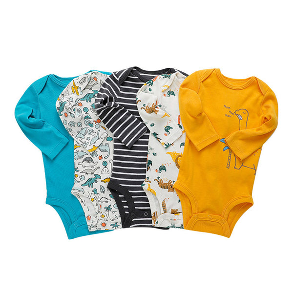 5PCS Baby Unisex Long Sleeve Cartoon Animal Printed Romper Baby Boutique Wholesale