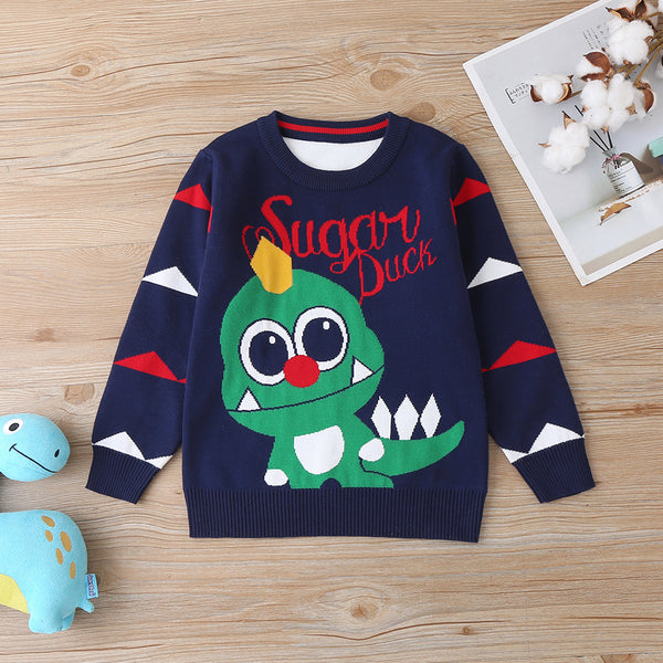5PCS Boys Letter Dinosaur Pullover Long Sleeve Sweater Wholesale Boy Clothing