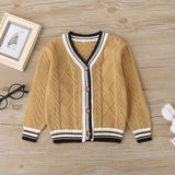 5PCS Boys Long-Sleeve Button Cardigan Sweaters Kids Wholesale Clothing