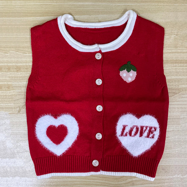 5PCS Unisex Love Heart Strawberry Button Cardigan Sweater Vest Wholesale Childrens Clothing