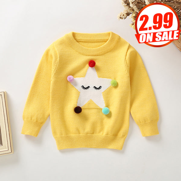 5PCS No Profit On Sale Clearance & Closeout Specials Girls Cartoon Star Long Sleeve Sweaters wholesale girls clothes