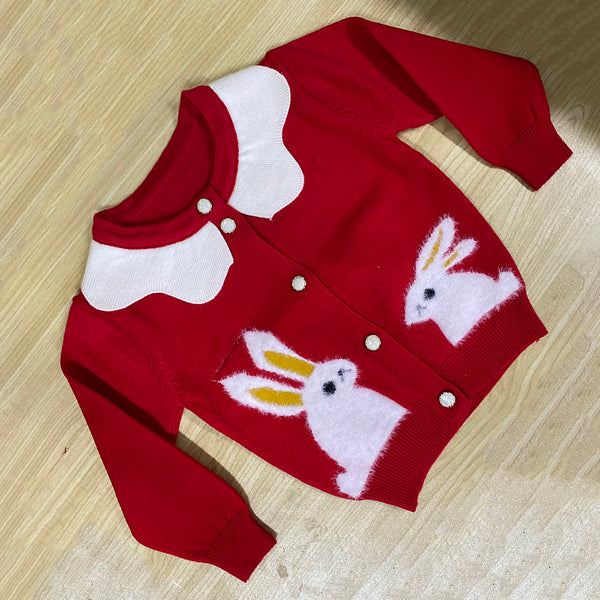 5PCS Girls Rabbit Color Blocking Long Sleeve Button Sweaters Wholesale Boutique Girl Clothing