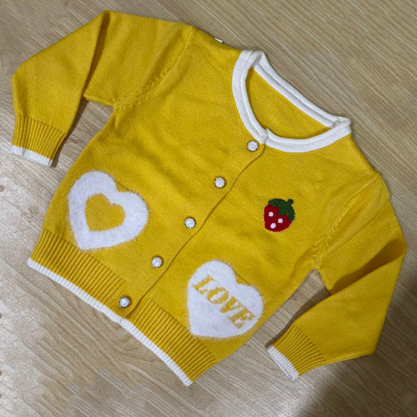 5PCS Girls Strawberry Love Heart Long Sleeve Sweater Wholesale Little Girl Clothing