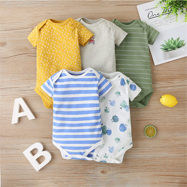 Baby 5PCS Summer Striped Cartoon Printed Short Sleeve Rompers Baby Clothes Vendors