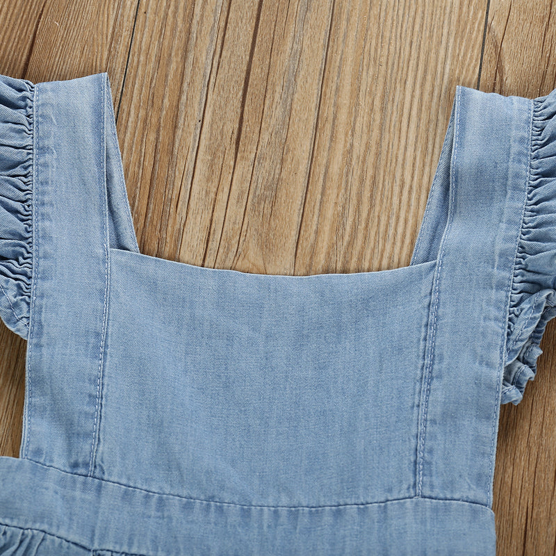 Girls Suspender Dress Solid Color Denim Skirt