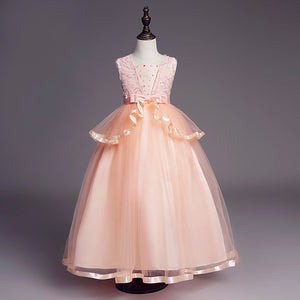 Girl Prom Dress Wedding Princess Dress Beaded Sleeveless Tutu Dress